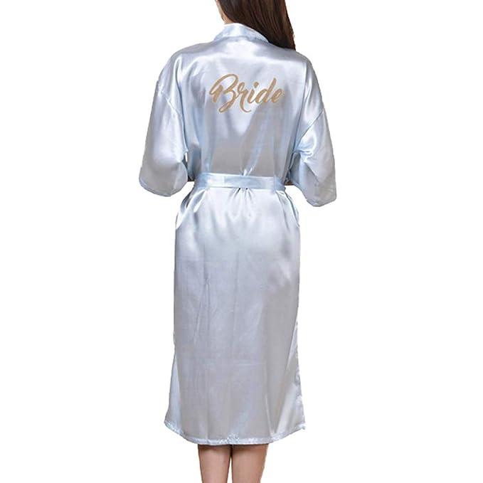 WEIMEITE Bata Larga Nupcial para Mujer Bata de Kimono para Novia Boda Fiesta Bata: Amazon.es: Ropa y accesorios