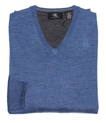Calvin Klein Men's V-Neck Merino Wool Sweater (Large, Shuttle Blue) - Calvin Klein Men Sweater