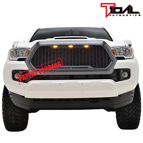 Tidal Replacement Tacoma Upper ABS Grille Front Full Grill with Amber LED Lights Charcoal Gray for 16-18 Toyota Tacoma Diamond Plate Hood Vent