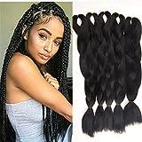 3 PCS Black Color Jumbo Braids Hair Extensions Big Braids 24 Inches 100g/pc(3pcs,Black)