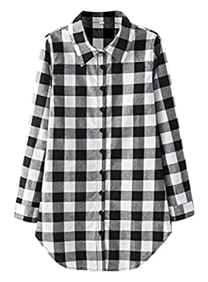 Winwinus Women's Grid Buckle Long Sleeve Mid-long Casual All-match Shirts