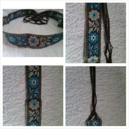 1 Brown Jacquard Belt Turquoise Floral Floral Design Creme Border Fringe 28 3/4#ID-145