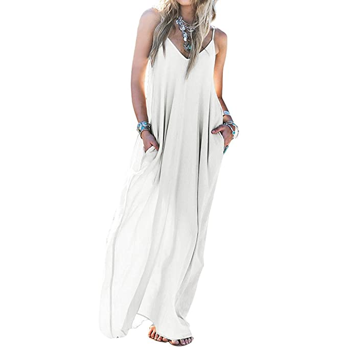 skyblue-uk playa vestidos para mujer Boho Loose gasa Backless Fiesta Noche Playa Largo Maxi