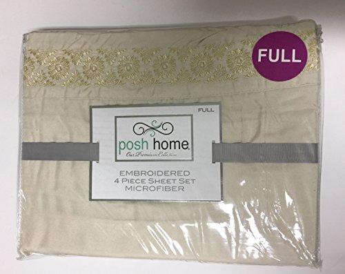 Posh Home Embroidered FULL Lafayette 4-Piece Sheet Set (Lafayette Bath)
