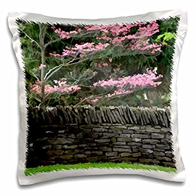 Danita Delimont - Kentucky - Stone wall and pink dogwood tree, Lexington, Kentucky - US18 AJE0498 - Adam Jones - 16x16 inch Pillow Case (pc_90415_1)