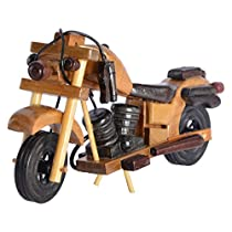 GREENTOUCH CRAFTS Handcrafted Wooden Antique Decorative Bullet Bike Motorcycle Showpiece for Gifts Items, 4x5x7cm (Brown)