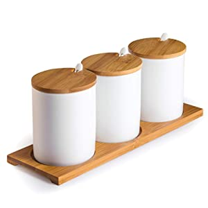 Ceramic Sugar Bowls with Bamboo Lids and Spoons-June Sky Muti-Functional Round Condiment Jar for Home- Spice Storage Canister,10.8 oz 320 ML,3 Pcs Set