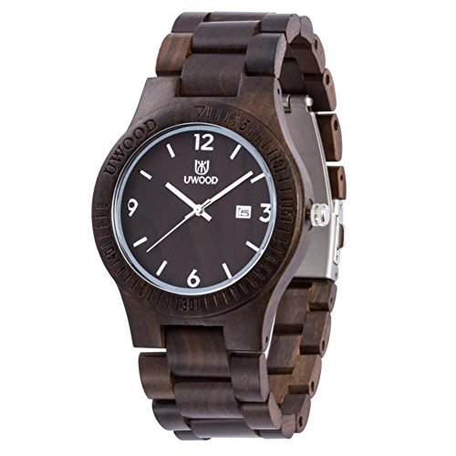 Uwood Luxury Brand Zebra Men's Sandal Wooden Watch Movement Watch Water Resistant,A Pretty Good Christmas Gift With Bamboo Gift Box Best for Father's Day Gifts (Black)