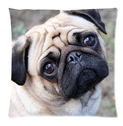 Charming Pug Dog Custom Zippered Pillow Case 18x18 (one side) (P-Pillow342) Creative Shop 2015 BR WE RSDF