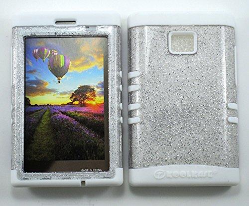 LG OPTIMUS LOGIC CASE GLITTER CLEAR WH-A042-H HEAVY DUTY HIGH IMPACT HYBRID COVER WHITE SILICONE SKIN L35G (Lg Optimus Logic Phones compare prices)