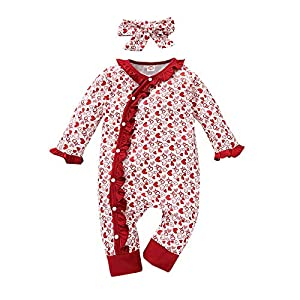 3-18 Months Toddler Valentine's Day Outfits Baby XO Ruffles Romper Headband(Red,70(3-6 Months))
