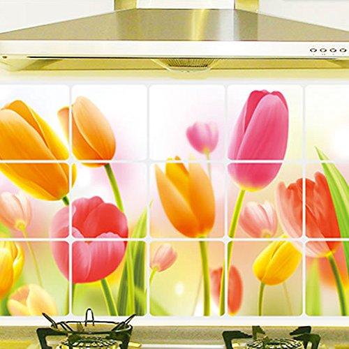 Kaimao DIY Tulip Pattern Backsplash Oil Proof Wall Sticker Art Decal Murals Removable Wallpapers for Kitchen