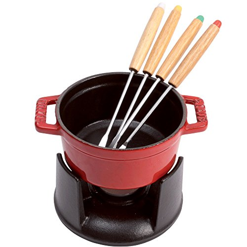 Staub 1400406 Cast Iron Mini Chocolate Fondue Set, 0.25-quart, Cherry