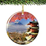 "Tokyo Japan Christmas Ornament Porcelain 2.75"" Double Sided with Pagoda"