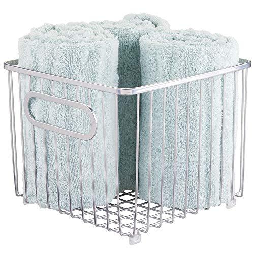 (mDesign Metal Bathroom Storage Organizer Basket Bin - Farmhouse Wire Grid Design - for Cabinets, Shelves, Closets, Vanity Countertops, Bedrooms, Under Sinks - Square - Chrome)