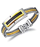 LineAve Men's Stainless Steel Stripe Twisted Rope Cable Bracelet, Black Gold Silver Color, 3d3011s19