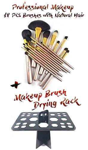 Professional Eyeshadow Brush Set with Natural Hair Wooden Handle - Makeup Brush Drying Rack 26 holes