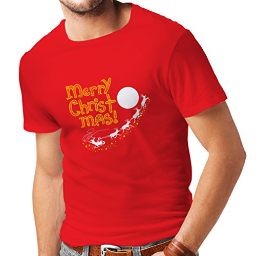 T shirts for men Santa Claus and the Reindeers, Christmas gifts (Medium Red Multi Color) (Pirate Attire Ideas)