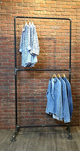 (Industrial Pipe Clothing Rack Heavy Duty Double Row by William Robert's Vintage)