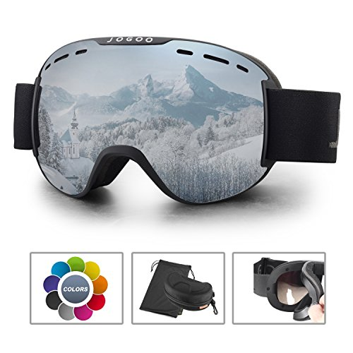 Jogoo Ski Goggles For Snowboard and Snowmobile,Interchangeable Lens and Magnetic Detachable Foam,UV400 Protection and Anti-fog Design OTG Snow Goggles for Men Women Youth & - Apxs Lens