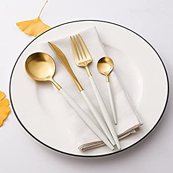 LEKOCH 4-Piece Stainless Steel Flatware Set 1 Including Fork Spoons Knife Tableware (White+Golden)
