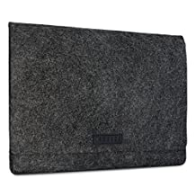 """KANVASA Felt Laptop Sleeve 11-11.6"""" & 12 Inch for MacBook Air 11"""" MacBook 12"""" Surface Pro 3 & 4 HP & More - Premium Ultrabook Bag Case Anthracite With Black Leather - Soft Protection For Your Notebook"""