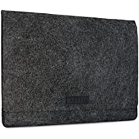 KANVASA Felt Laptop Sleeve 15 15.6 Inch Anthracite - Premium Notebook Ultrabook Bag With Black Leather Attachment - Case For Samsung ASUS Acer Lenovo HP Dell & more - Soft Protection For Your Device