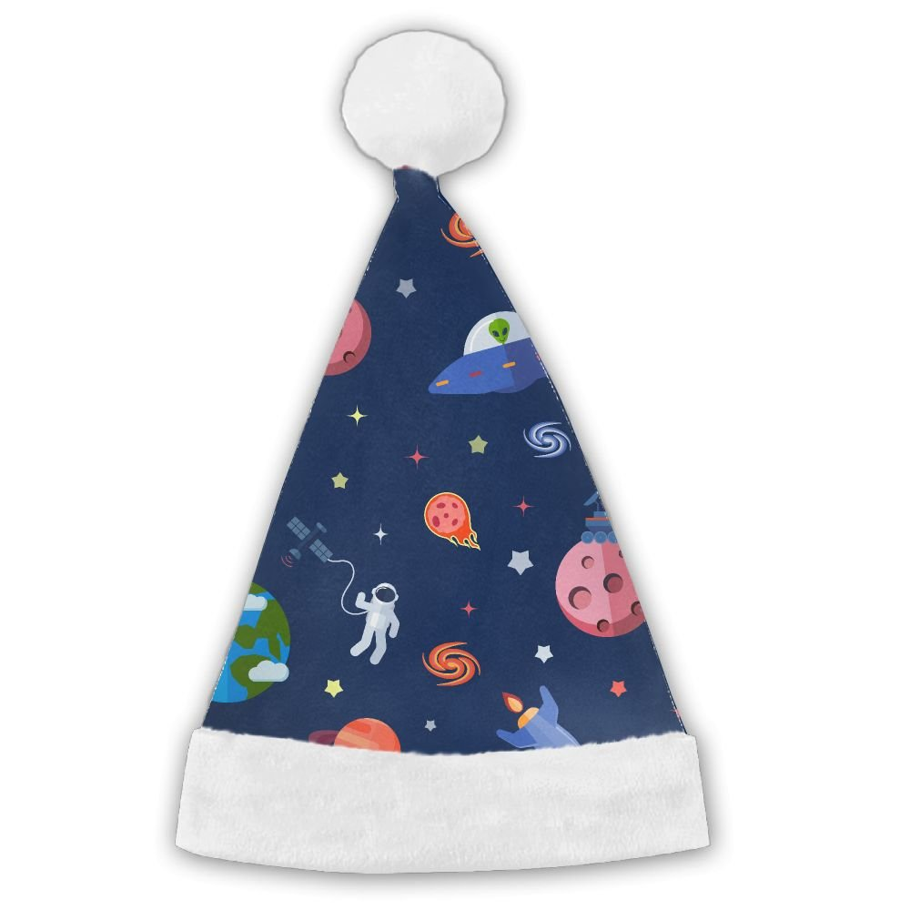 Outer Space Earth Rocket Planet Christmas Hat Velvet Santa Claus Hat S Size For Kid,M Size For Adult