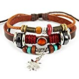 Charm Silvery Flower Pendant Brown Braided Rope Leather Bracelet