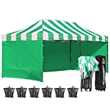 ABCCANOPY 10 X 20 Carnival Pop up Canopy Popcorn Cotton Candy Vending Tent + 6 Sidewalls + 2 Sideskirt +1 Screen Wall+ 1 Wheeled Bag + 6 Weight Bag (green/white with green walls)