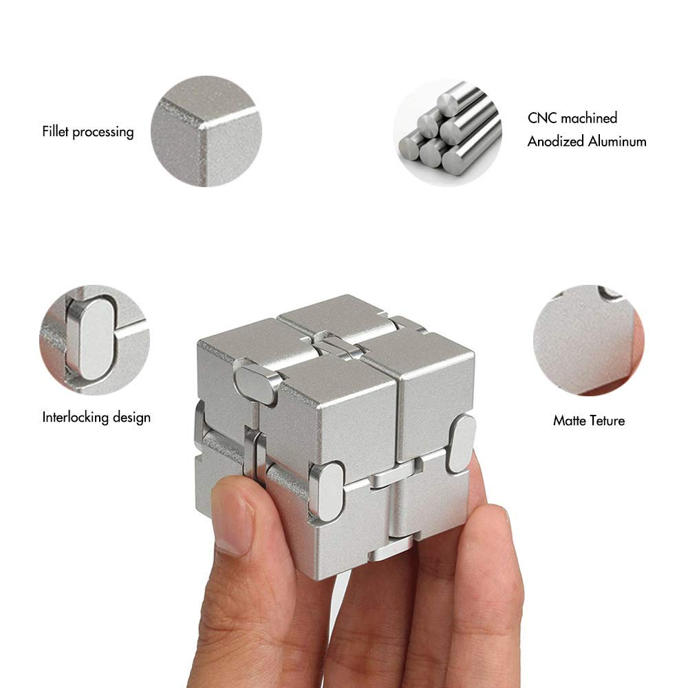 Metal Infinity Cube, Fidget Cube New Version Fidget Finger Toys, Infinity Turn Spin Cube EDC Fidgeting for ADD, ADHD, Anxiety, and Autism Adult and Children. by SULCMAG (Image #2)