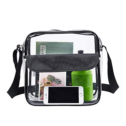 Front Compartment Lecho Clear Tote Bag Stadium Approved 12X6X12 Inch w Inside Mesh Pocket Clear Crossbody Bag w Adjustable Strap Zipper Closure