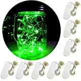Yitee Battery Powered Mini Rice Lights,8 Pack 20 Led String Fairy Star Firefly Jar Lights,for Mason Jar Wine Bottle Home Patio Garden Wedding Christmas Moon Table Decor Green Lights