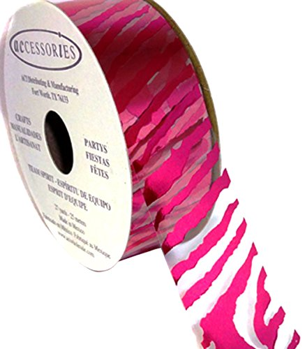 ACI PARTY AND SPIRIT ACCESSORIES Clear Ribbon with Hot Pink Zebra Print Pattern, 27 yd. Roll