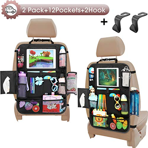 Car Seat Organizer-Backseat Car Organizer with Touchable Tablet Holder+12 Storage Pockets | 2 Bonus Hooks | Earphone Hole Design | 2 Backup Bags, Kick Mats Car Organizer Back Seat for Kids (2 Pack)