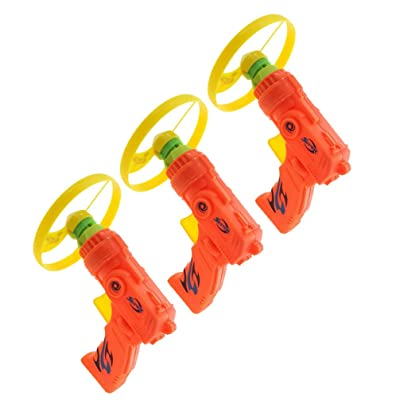 TOYANDONA 3pcs Flying Super Saucer Launcher Set Spinning Shooter Flying Disc ToysPlastic Flying Toys for Children Indoors Outdoors: Toys & Games