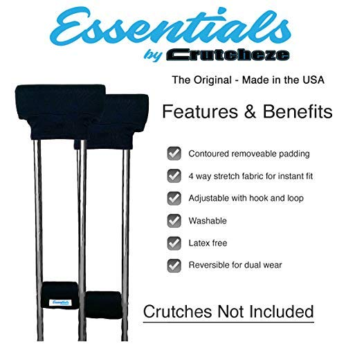 Crutcheze Essentials USA Made Underarm Crutch Pad and Hand Grip Covers with Comfortable Padding Includes Hand Grips and Underarm Pads-