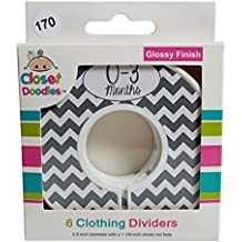 Closet Doodles Grey Chevron Gender Neutral Baby Clothing Dividers Organizer Set of 6 Fits 1.25inch Rod (Ranged Months)