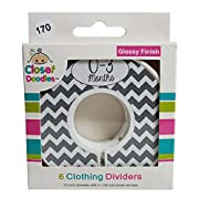 Closet Doodles Grey Chevron Gender Neutral Baby Closet Dividers Set of 6 Fits 1.25inch Rod (Ranged Months)