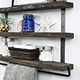 Del Hutson Designs Industrial 3-Tier Floating Shelf with Towel Bar