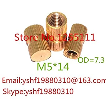 Nut 100pcs//lot M514 M5 x 14 Blind End Brass Insert Nut Single Thread Brass Knurl Nut OD 7.3mm