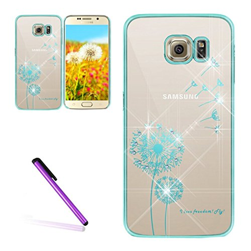 Galaxy S6 Case Samsung Galaxy S6 Case for Girls EMAXELER Stylish Bling Diamond Slim Case Plating Process Hard PC Back Cover Protective Case for Samsung Galaxy S6 Dandelion Blue