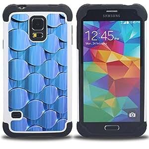 For Samsung Galaxy S5 I9600 G9009 G9008V - Wallpaper Light Blue Random Modern /[Hybrid 3 en 1 Impacto resistente a prueba de golpes de protecci????n] de silicona y pl????stico Def/ - Super Marley Shop -