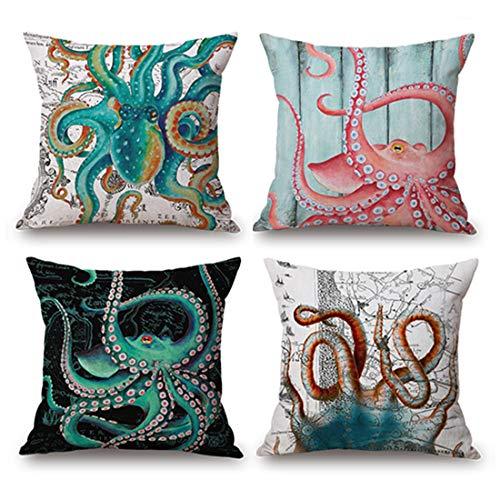 JES&MEDIS Octopus Pattern Linen Cotton Square Throw Pillow Case Home Decorative Pillowcase Cushion Cover for Sofa Bed,18
