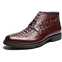 Zorgen Mens Boots Genuine Leather Embossed Leather Lacing up