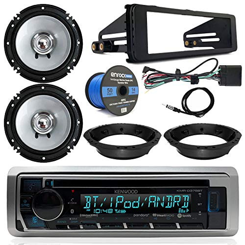 (1998-2013 Harley Davidson Radio Package - Kenwood USB CD Bluetooth Marine Radio, 2X Kenwood 6.5