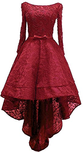 Brautjungfer Perlstickerei Spitze Kleid Party Cocktail High Low Beyonddress Abendkleider Ballkleid Damen Rot YOxqvw0