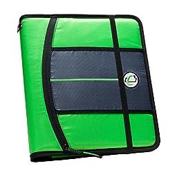 Case-it 1-Inch 3-Ring Binder, 5-Tab, 6-Pocket, Neon Green (SLIM-621-FN-NeoGrn)