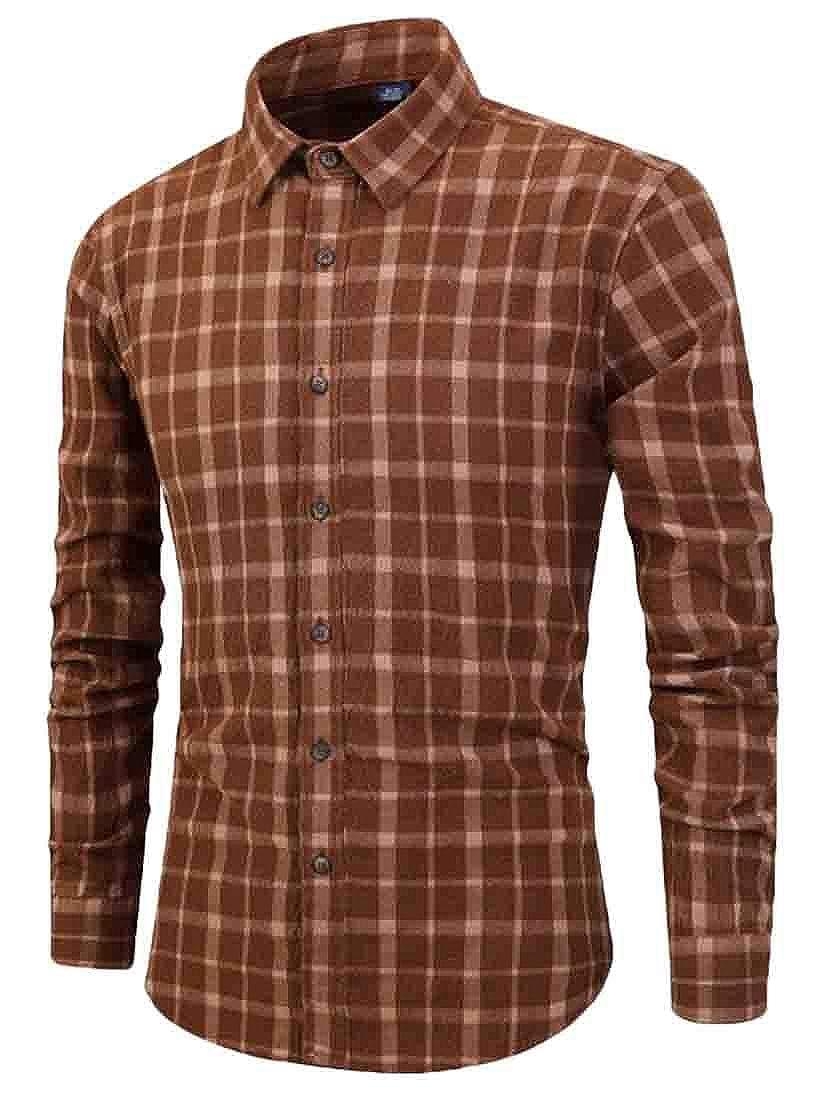 Wan-T Men Casual Long-Sleeve Western Cotton Button Down Regular Fit Plaid Shirts