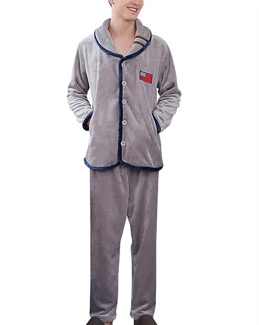 Sets de Pijama Hombre Conjunto de pijama de manga larga Gris L